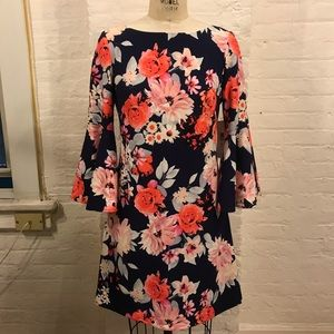 Eliza J Floral Navy Bell Sleeve Shift Dress